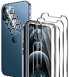 LK 6 Pack Protector de Pantalla Compatible con iPhone 12 Pro 6.1 Pulgada,Contiene 3 Pack Cristal Vidrio Templado y 3 Pack Protector de Lente de cámara, Doble Protección,Marco de Posicionamiento