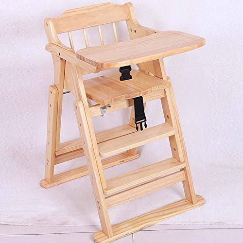 Yuzhijie silla de comedor de madera maciza multifuncional bebé comedor mesa de aprendizaje color madera plegable sin pintura bebé silla de comedor B
