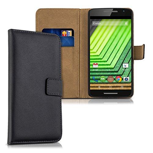 kwmobile Hülle kompatibel mit Motorola Moto X Play - Kunstleder Wallet Case mit Kartenfächern Stand in Schwarz