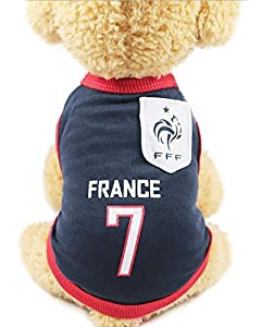 FishBabe Chien Coupe du monde de football T-shirt Pets Maillot de football Sports Soccer National Team Gilet Chat Summer Cool Vêtements Apparel