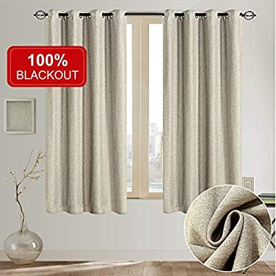 Rose Home Fashion Natural Linen Look, 100% Blackout Curtains(with Liner), Linen Blackout Curtains& Blackout Thermal Insulated Liner, Burlap Curtains