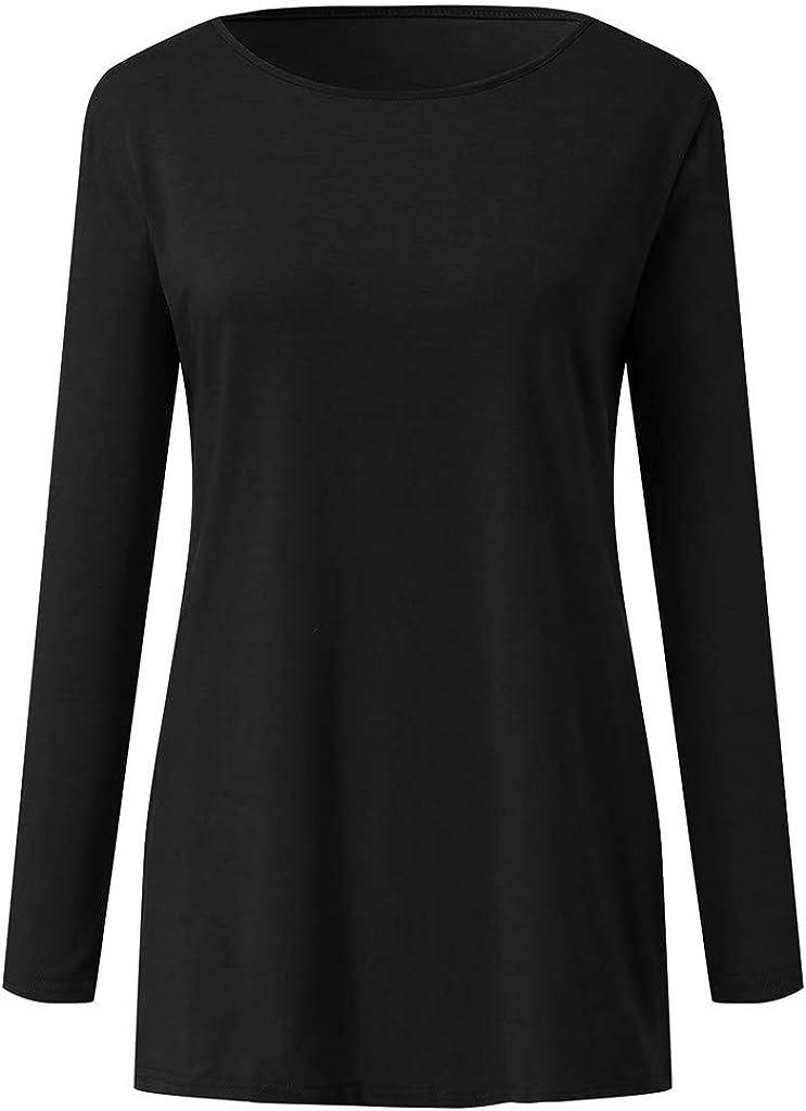 YOcheerful Winter Tops Womens Print O Neck T Shirt Loose Solid Color Casual Long Sleeve Shirt Blouse