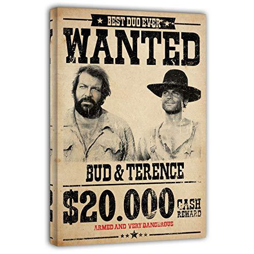 Terence Hill Bud Spencer Leinwand - Wanted $20.000 - Die rechte und die Linke Hand des Teufels - Kunstdruck (20 x 30 cm, Vintage)