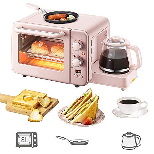 Multifunktionstoaster 8L, Toaster 3 In 1 1400 (W), Mit Antihaft-Bratpfanne Und 0,8 L Kaffeemaschine, Mit Back-, Heiz- Und Omelettfunktion, Mit Abschaltschutz, Mit Kontrollleuchte,Pink