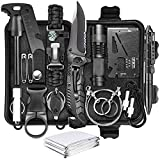 Survival Kit 17 in 1,Survival Gear and Equipment Emergency Survival Tools Birthday Gift for Men Dad Him Husband Boyfriend with Hunting Knife / Tactical Flashlight for Camping Hiking Outdoor Adventure