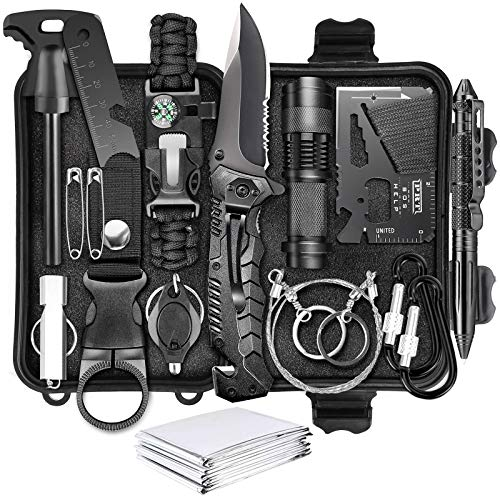 Survival Kit 17 in 1,Survival Gear and Equipment Emergency Survival Tools Birthday Gift for Men Dad...