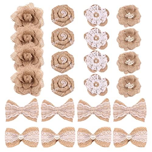 cabilock 24 Piezas Corbatas Creativas Corbatas Hermosas Corbatas Lazo de Arpillera Adornos de Navidad DIY para Fiesta de Navidad