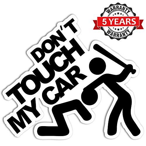 Biomar Labs® 1 Stück Vinyl Don't Touch My Car Aufkleber Autoaufkleber Stickers Auto Moto Motorrad Fahrrad Helm Fenster Tuning B 103
