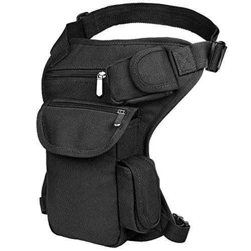 VBG VBIGER Drop Leg Bag Pouch Men's Thigh Bag Thigh Pack Canvas Outdoor Travel Waist Pack Sports Fanny Pack Bike Motorcycle Cycling Camping Hiking Hip Bag (Black)