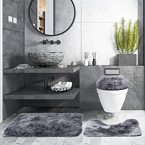 "3 Piece Thicken 0.4"" Bath Rugs Set, Bath Rug + Contour Mat + Toilet Seat Cover, Super Long Soft Microfiber Water Absorbent & Non-Slip Bathroom Rugs with PVC Point Rubber Backing (Grey)"