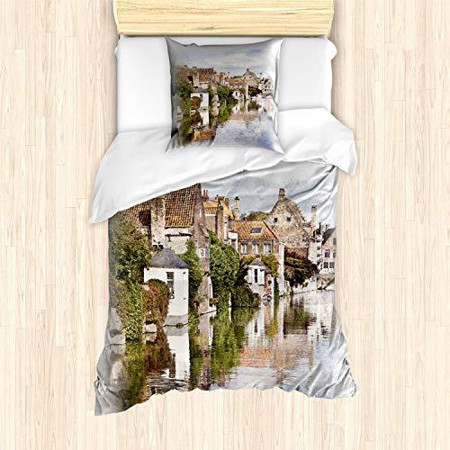 ABAKUHAUS Abstract Dekbedovertrekset, Brugge uitzicht op de gracht, Decoratieve 2-delige Bedset met 1 siersloop, 135 cm x 200 cm, Veelkleurig