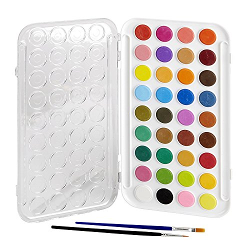 Artlicious - 36 Watercolor Paint Set with Built In Palette Lid Case & 2 Brushes