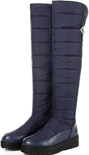 Hhor Chaussures d'hiver Bottes de Neige Basses en Coton avec Bottes en Coton compensées, Plateforme, sur Le Genou (Couleuré   Bleu, Taille   EU 40)