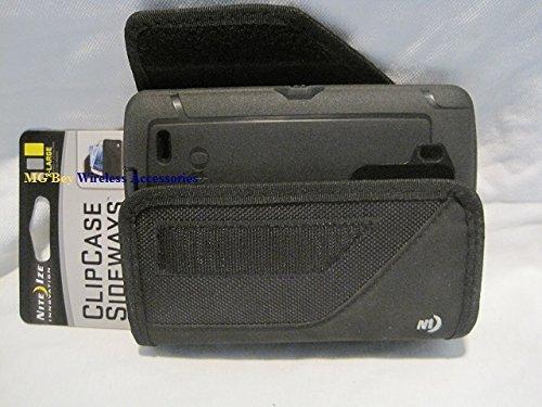 Nite Ize Black Extended Sideways Ballistic Horizontal Rugged Heavy Duty X-large Holster Pouch W/Durable Fixed Belt Clip Fits LG G3 / LG G3 D850 AT&T / LG G3 990 Sprint / LG G3 D851 T-Mobile / LG G3 VS985 4G Verizon Otterbox Commuter/Defender Case