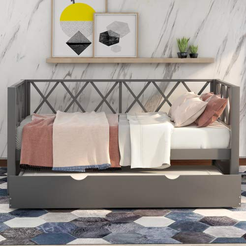 Wood Daybed with Trundle,Twin Size Daybed,No Box Spring Needed, X-Shaped Back Design,Gray