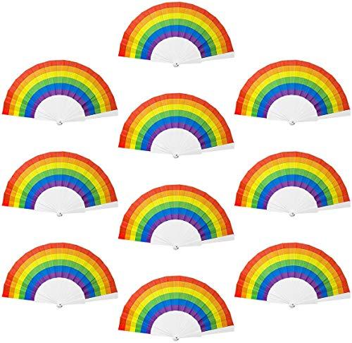 Richaa10pcs bambù Ventilatore,palmare Ventilatore Pieghevole Mano Colore Decorativi Favore di Partito Danza Puntelli Spettacolo Festa Favori, Decorazione Fai da Te,per Bomboniere a Tema Gay Pride LGBT