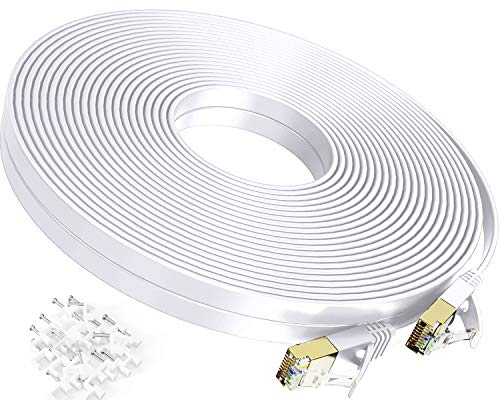 Cat 7 Ethernet Cable 100 ft,Durable High Speed Flat Internet Network Computer Cord,Faster Than Cat6 Cat5e Cat5 Network,High Speed Slim Cat7 LAN Wire with Rj45 Connectors for Router, Modem,Xbox,White