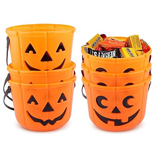 6 confezioni di Halloween Dolcetto o scherzetto secchiello di zucca Cestini di Halloween Secchi di zucca per la raccolta di dolci per Halloween Lanterna Cestino di caramelle Forniture per Halloween