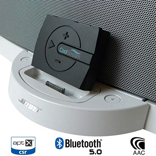 CoolStream Boom Bluetooth Adapter for Bose SoundDock with Bluetooth 5.0, 3D Sound Equalizer, aptX, Low Latency for 30 Pin Docks