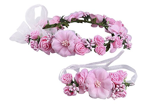 Wedding Bride Garland Women Floral Headband Flower Girl Adjustable Headwear Ladies Artificial Floral Hoop wih Wristband Beach Hawaii Wreath Crown Set Bohemia Headpieces Bracelet for Party Festival