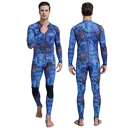 Dive Skin Men, Diving Suit Full Body Rash Guard Long Sleeve Sport Skin Sun Protection Diving Snorkeling Spearfishing Swimming (Camo, S)