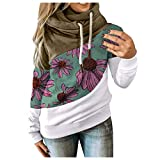derenzide 2020 Women's Floral Hoodies Long Sleeve Drawstring Casual Sweatshirts Pullover Tops Lightweight Cute Hooded Green