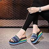 zapatillas deportivas de mujer blancas,Zapatillas de arco iris, ropa de verano de la moda zapatillas frescas de moda, pendientes con cremallera de ocio grueso, caminata de playa antideslizante para m