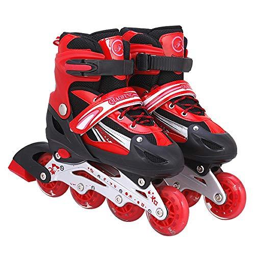 Ice-Beauty-ukzy Kids Inline Skate Roller, Inline Skates Size Adjustable Light Up Roller Skates Adjustable Illuminating Inline Skates with Light Up Wheels for Kids Best GiftsRed-L (38~41)