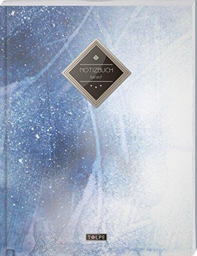 """TULPE Kariertes Notizbuch A4 """"C145 Eiskalt"""" (140+ Seiten, Vintage Softcover, Doppelrand, Seitenzahlen, Register - Dickes Notizheft, Matheheft, Skizzenbuch, Schulheft, Tagebuch, Kariertes Heft Nr 26)"""