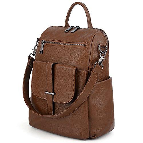 UTO Multipurpose Women Backpack 3 Ways Convertible Ladies Rucksack Shoulder Bag Handbag Girl School Bag PU Washed Leather Brown
