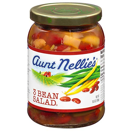 Aunt Nellie's 3 Bean Salad   Green, Wax, and Kidney Beans   Sweet & Tangy   15.5 oz. glass jars (Pack of 2)