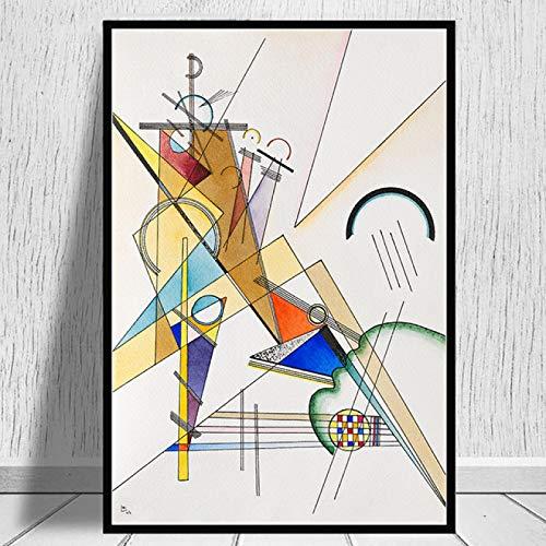 HYFBH Obra de Arte geométrica Abstracta de Wassily Kandinsky Lienzo Pinturas Carteles Impresiones Reproducciones Cuadros de Pared Decoración del hogar 80x100cm (32x39in) Marco Interior