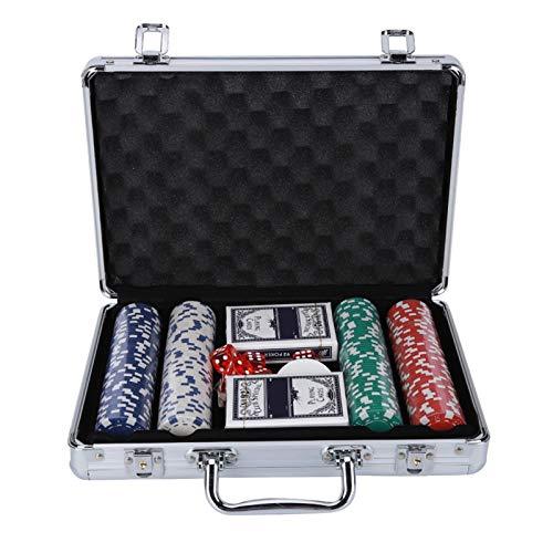 RKRXDH Casino Fichas De Póker 200PCS Fichas De Póker Juego Set con Las Tarjetas Dados ABS Ficha De Juego Portátiles Adultos Caja De Aluminio For Niños Gambing Entretenimiento