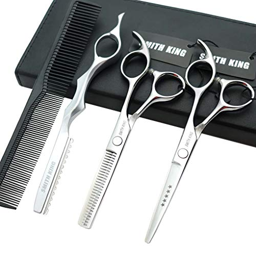 5.5 Inches Hair Cutting Scissors Set with Razor Combs Lether Scissors Case,Hair Cutting Shears Hair Thinning Shears for Personal and Professional (Silver)