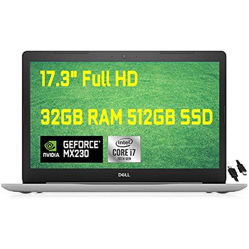 2020 Premium Dell Inspiron 17 3793 3000 Laptop, 17.3 inch FHD Anti-Glare, 10th Gen Intel Quad-Core i7-1065G7, 32GB DDR4 512GB SSD, 2GB MX230 MaxxAudio WiFi DVD HDMI Win 10 + iCarp HDMI Cable