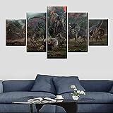 KWzEQ HD Print 5 Panel Dinosaurio Poster Art Modern Living Wall Decoration Living Room Canvas,Pintura sin Marco,40x60cmx2, 40x80cmx2, 40x100cmx1