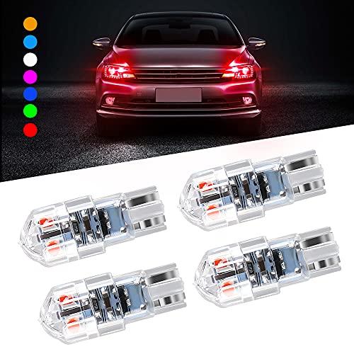 4PCS T10 168 W5W LED Cupola a cuneo per auto 3030 SMD 8 LED Decodifica della corrente costante continua Luce di lettura per auto a LED Luce targa Fanale Posteriore Tronco 12-24V Universale-rosso