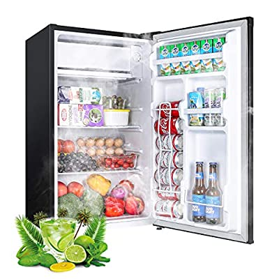 ?Limited Deal?Mini Fridge with Freezer, TECCPO 3.2 Cu.Ft, Energy Star Reversible Door Compact Refrigerator, 35 dB, Adjustable Thermostat, Slide Out Shelves, Suitable for Office, Dorm Room, Kitchen or Playroom, Classic Black - TAMF06