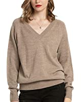 Woolen Bloom Womens V Neck Sweaters Pullover Lightweight Long Sleeve Sweater Tops for Women Fall Winter Soft Casual Camel