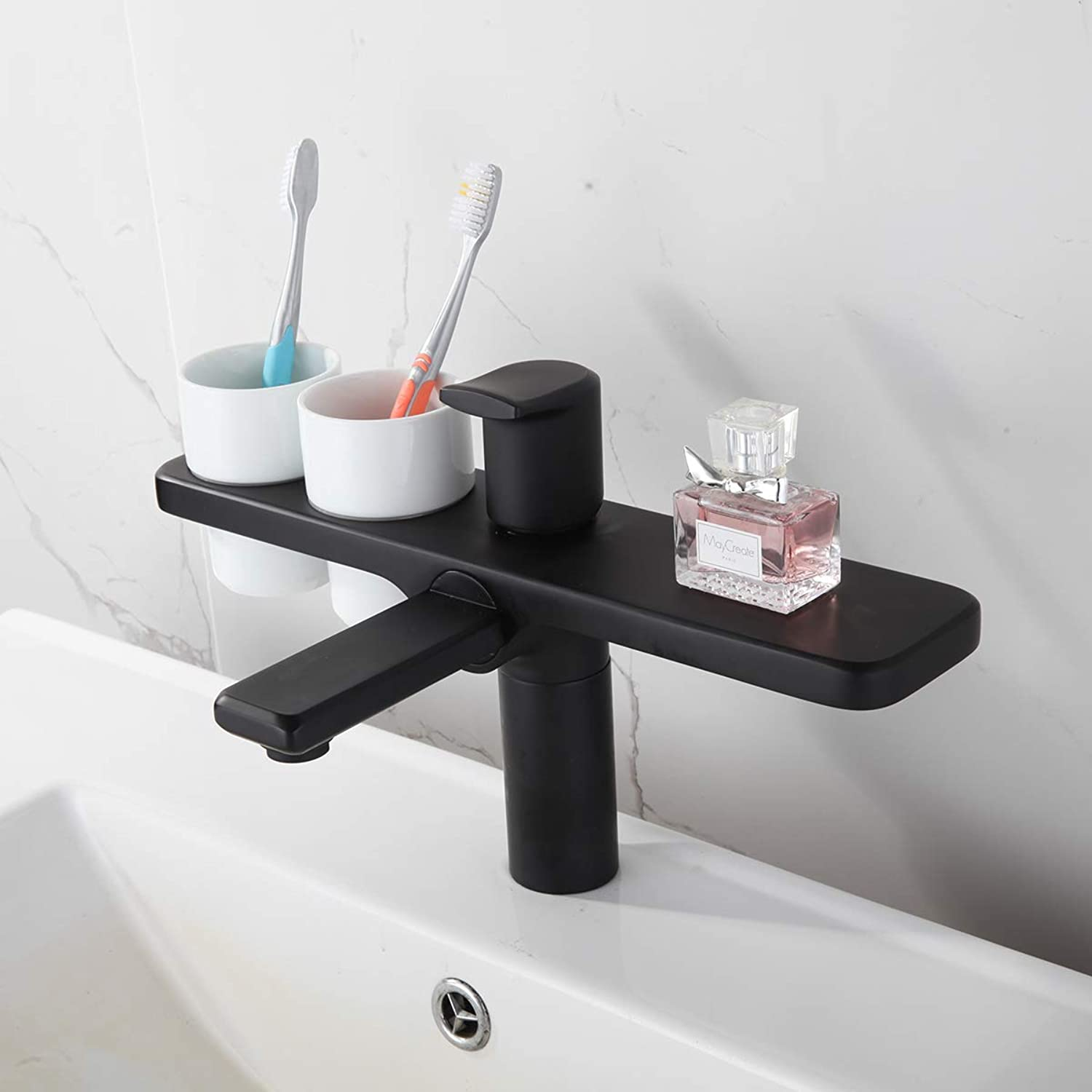 ZMHOME Brass 360 Degree Chrome-Plated Basin Black Bathroom Sink Basin Faucet With Double Toothbrush Cup Holder,Black