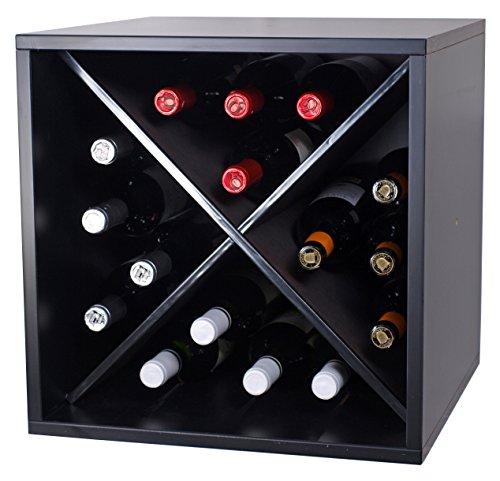 Expovinalia wijnrek met X-binnenzijde voor 16 flessen, melamine, zwart, 42 x 42 x 42 cm