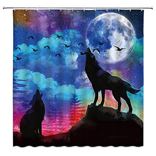 Xnichohe Wolf Shower Curtain,Oil Painting Moon Birch Forest Wild Animals Night View Bird Mountain Fantasy Starry Sky Polyester Cloth Fabric Bathroom Curtains Decor Set with 12 pcs Hooks,70 x70 Inches