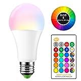 E27 Bombilla de luz que cambia de color 15W Regulable RGBW Bombillas de luz LED Iluminación ambiental con control remoto de 24 teclas, 4 modos, 16 opciones de color para el hogar, la fiesta