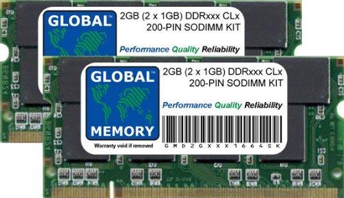 Global Memory 2 GB (2 x 1 GB) DDR 266/333 MHz 200-PIN SODIMM Memory Ram Kit para Powerbook G4 de Aluminio