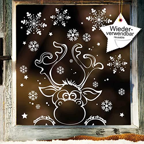 Wandtattoo-Loft Fensteraufkleber Kleiner neugieriger Elch mit Schneeflocken WIEDERVERWENDBAR