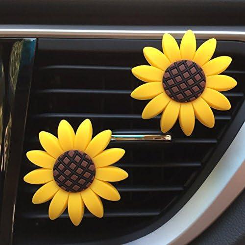 Qikafan Codiea Sunflower Air Outlet Fragrant Perfume Clip,Sunflower Car Accessories, Cute Car Air Freshener, Sunflowers Gift Decorations Car Clip Interior Air Vent Decor