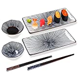 6 piece sushi plate set, 10-inch ceramic rectangle sushi dishes, sushi serving set for 2, with 2 sushi plates 2 sauce bowls 2 pairs of chopsticks