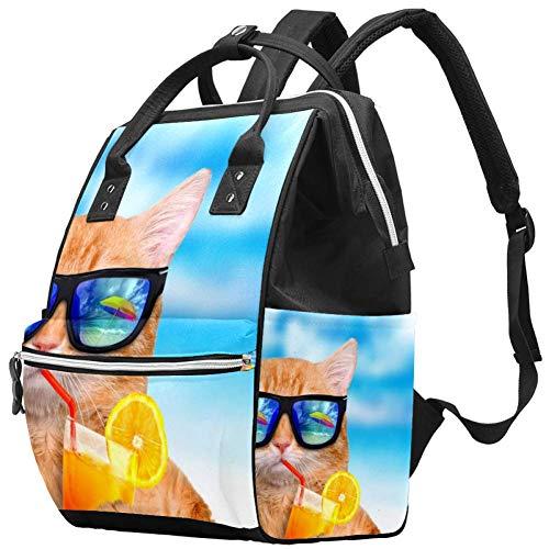 Cooper Girl Bonjour Summer Funny Cat Nappy Changing Bag Diaper Sac à dos avec poches isolées, sangles de poussette, grande capacité multifonctionnel élégant sac à couches pour maman papa en plein air