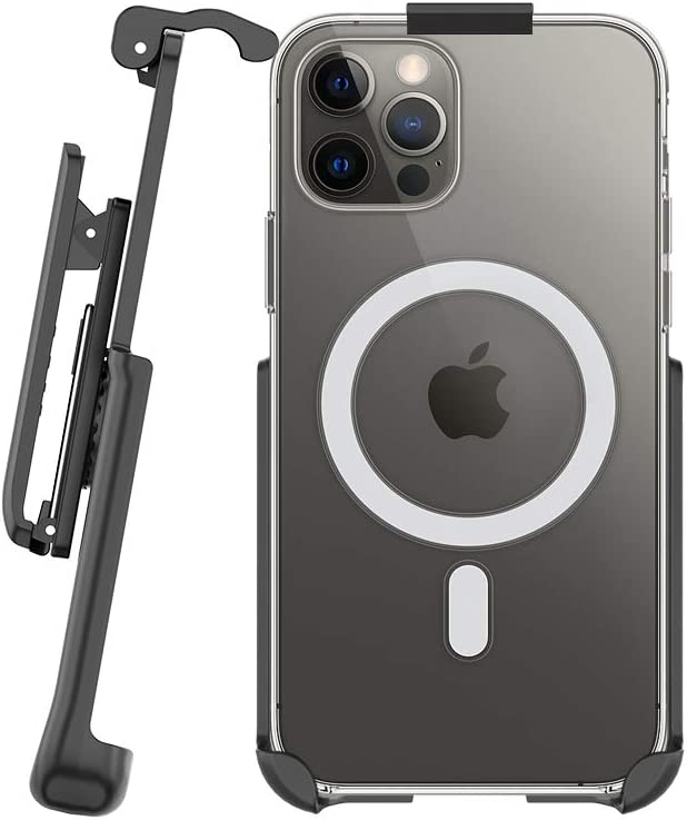 BELTRON Belt Clip Holster Compatible with Apple Clear Case for iPhone 12 Pro Max with MagSafe - Features: Built in Kickstand (Holster Only, Case is NOT Included)