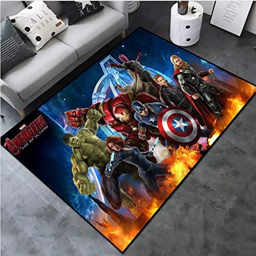 Mianbao Teppich The Avengers Marvels Marvel Dun Mode Cartoon Spielzimmer Schlafzimmer Schlafzimmer Ball Anti-Rutsch-Matte Matte Leicht Cl Eaned